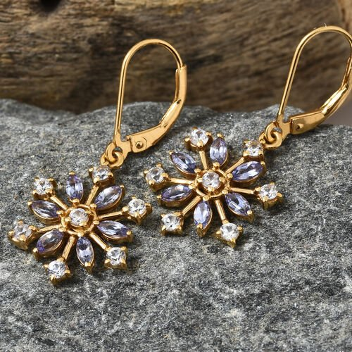 Tanzanite (Mrq), Natural Cambodian Zircon Snowflake Lever Back Earrings in 14K Gold Overlay Silver 2.25 Ct.