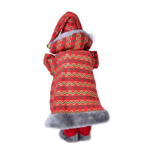 Red and Grey Singing Santa with Golden Magic Wand (Size 47 Cm)