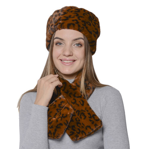 2 Piece Set - Leopard Pattern Faux Fur Hat (59x18cm) and Scarf (14x88cm) - Coffee and Black