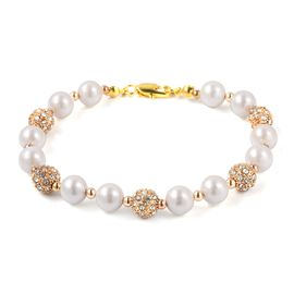 Mega Day Special- White Shell Pearl (Rnd 9-7 mm), White Austrian Crystal Beads Bracelet (Size 8) in Yellow Gold Plated
