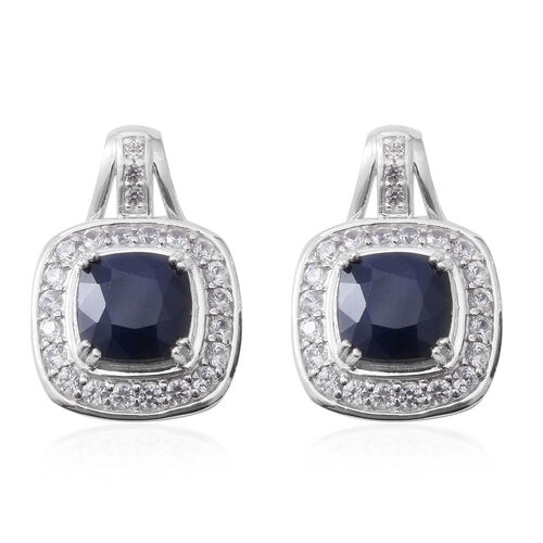 Kanchanaburi Blue Sapphire (Cush 9x9 mm), Natural White Cambodian Zircon and Burmese Ruby Earrings (with Push Back) in Rhodium Plated Sterling Silver 6.150 Cts. Silver wt 7.60 Gms.