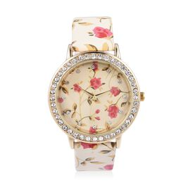 STRADA Japanese Movement Water Resistant White Austrian Crystal Studded Floral Pattern Watch with Be