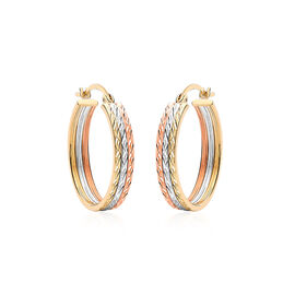 Hatton Garden Close Out Deal- 9K White, Yellow and Rose Gold Hoop Earrings