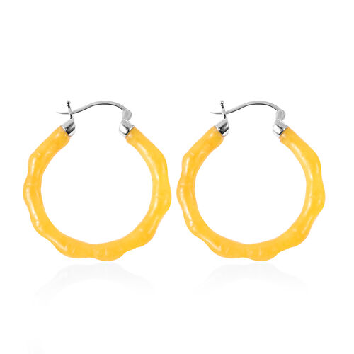 Yellow Jade Carved Bamboo Design Hoop Earrings (with Clasp) in Rhodium Overlay Sterling Silver 28.500  Ct.
