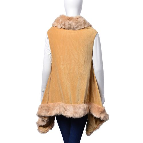 Designer Inspired Khaki Buttoned Poncho with Faux Fur Collar (One Size Fits All)