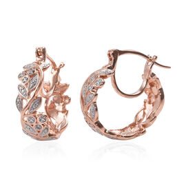 Diamond (Rnd) Full Hoop Floral Vine Earrings (with Clasp) in Rose Gold Overlay Sterling Silver