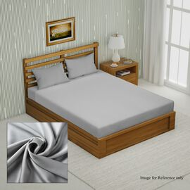 4 Piece Set - 100% Bamboo 1 Flat Sheet, 1 Fitted sheet & 2 Pillowcases - Size: Double - Grey - 300 T