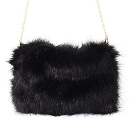 Black Colour Faux Fur Cross Body Bag with Removable Shoulder Strap (Size 28x20 Cm)