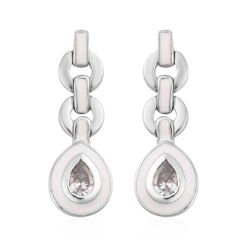 J Francis - Platinum Overlay Sterling Silver Enamelled Drop Earrings (with Push Back) Made with SWAR