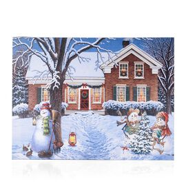 Home Decor - 6 LED Fiber Optic Light Framed Canvas Christmas Snowman Family Theme Painting Wall Deco