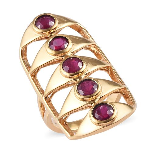 3 Carat African Ruby Gladiator 5 Stone Ring in Gold Plated Sterling Silver
