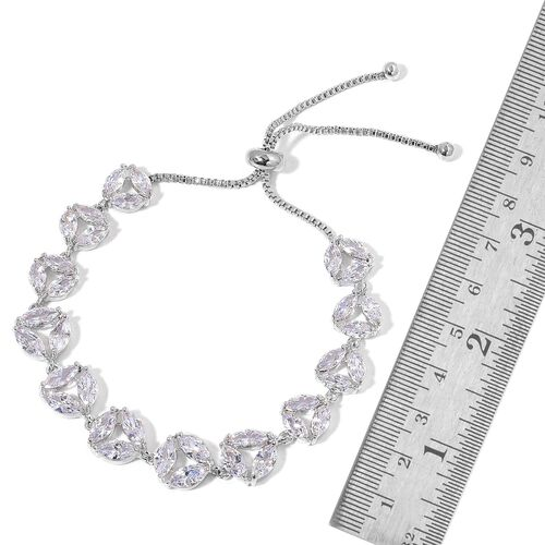 AAA Simulated White Diamond Adjustable Bracelet (Size 6.5 to 8.5) in Silver Tone