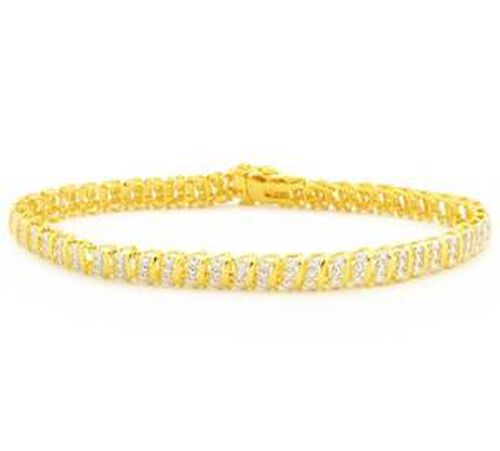 JCK Vegas Show Stopper Diamond (Rnd) Bracelet (Size 7.5) in Gold Plated