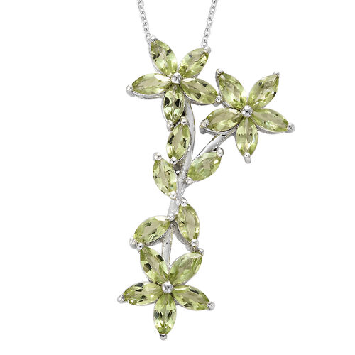 Hebei Peridot (Mrq) Floral Pendant With Chain in Platinum Overlay Sterling Silver 5.250 Ct.