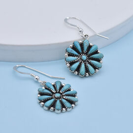 Santa Fe Collection - Turquoise Hook Earrings in Rhodium Overlay Sterling Silver 4.00 Ct.