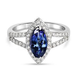 RHAPSODY 950 Platinum, AAAA Tanzanite and (VS/E-F) White Diamond, 1.868  Ct. Platinum Wt.  5.12 Gm.