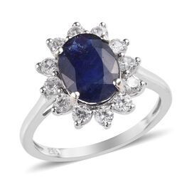 3.50 Ct Masoala Sapphire and Zircon Halo Ring in Platinum Plated Silver