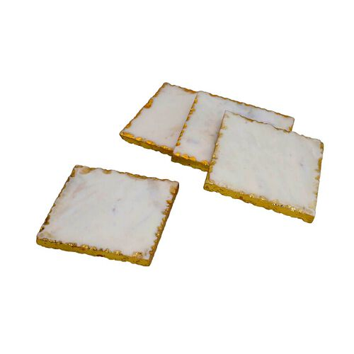 Set of 4 - Square Shaped Marble Coasters (Size 10x10cm) - White