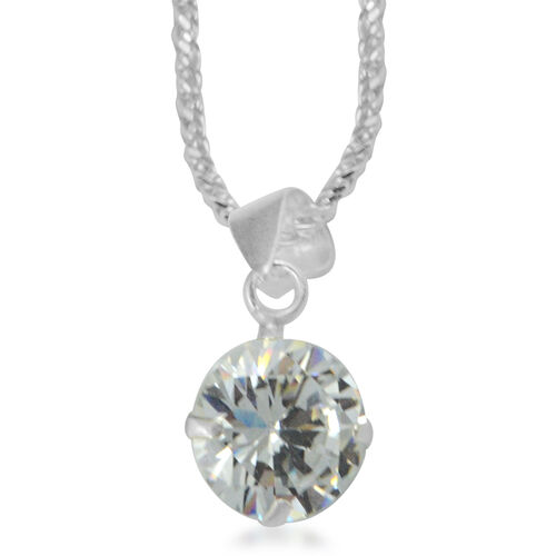 3 Piece Suite -  ELANZA Cubic Zirconia  (Rnd 8mm) Earrings and Pendant with Sterling Silver Snake Necklace