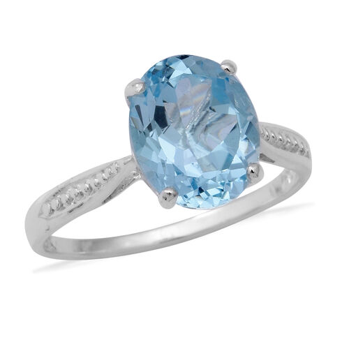 4.66 Ct Sky Blue Topaz Solitaire Ring in Sterling Silver