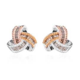 Platinum, Yellow and Rose Gold Overlay Sterling Silver Diamond Love Knot Earrings (with Push Back) 0
