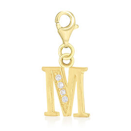 AAA Simulated Diamond M Initial Charm in Yellow Gold Overlay Sterling Silver.