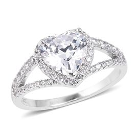 ELANZA Simulated Diamond (Hrt) Heart Ring in Rhodium Overlay Sterling Silver