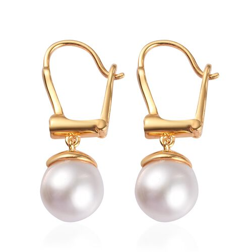 Royal Bali Collection - South Sea White Pearl and Natural Cambodian Zircon Drop Earrings (with Clasp) in 14K Gold Overlay Sterling Silver