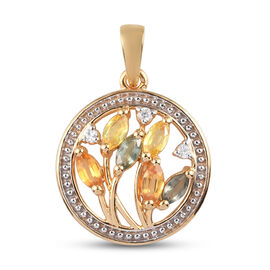 Rainbow Sapphire and Natural Cambodian Zircon Circle Pendant in 14K Gold Overlay Sterling Silver 1.2
