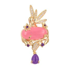 Pink Jade (Ovl 10.50 Ct), Purple Jade, Amethyst and Multi Gemstone Pendant in Vermeil Yellow Gold Overlay Sterling Silver 12.455 Ct, Silver wt 7.00 Gms.