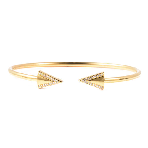 LucyQ Natural White Cambodian Zircon Arrow Bangle in Yellow Gold Plated Sterling Silver 7 Inch