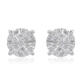 Diamond (Rnd) Stud Earrings (with Push Back) in Platinum Overlay Sterling Silver  0.252  Ct.