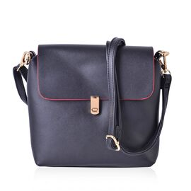 Dazzling Black Vintage Style Crossbody Bag with Adjustable and Removable Shoulder Strap (Size 18x18x5 Cm)