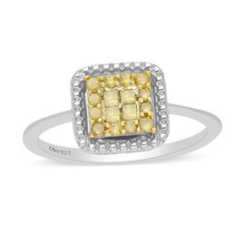 Yellow Diamond Ring in Platinum Overlay Sterling Silver 0.33 Ct.