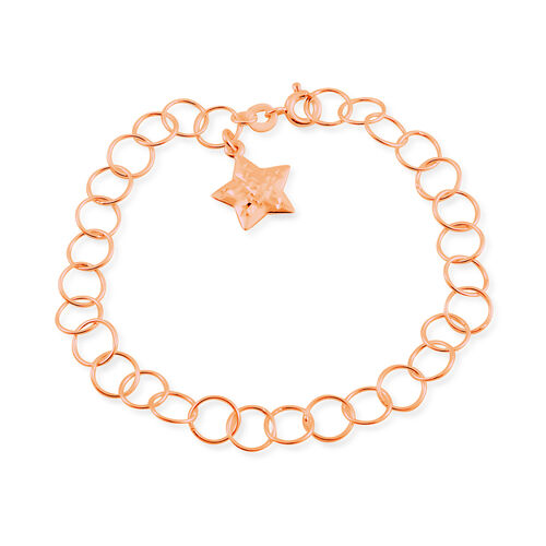 Rose Gold Overlay Sterling Silver Round Link Bracelet (Size 7.5) with Star Charm