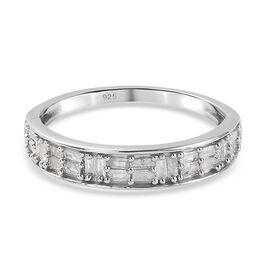 Diamond Band Ring in Platinum Overlay Sterling Silver 0.240 Ct.