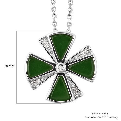 Isabella Liu Dance of Ginkgo - Green Jade and Natural Cambodian Zircon Pendant with Chain (Size 18) in Rhodium Overlay Sterling Silver 3.60 Ct.