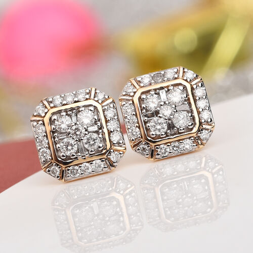 9K Yellow Gold SGL Certified White Diamond (I3/G-H) Earrings (with Screw Back)