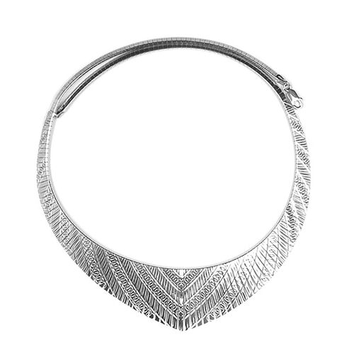 Rhodium Overlay Sterling Silver Chevron Necklace (Size 17.5), Silver wt 23.07 Gms