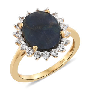 Natural Spectrolite (Ovl 2.35 Ct), Natural Cambodian Zircon Ring in 14K Gold Overlay Sterling Silver 3.250 Ct.
