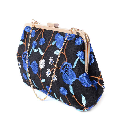 Luxe Blue Flower Embroidered Large Clutch Bag with Gold Removable Should Strap  ( size 29x18cm)