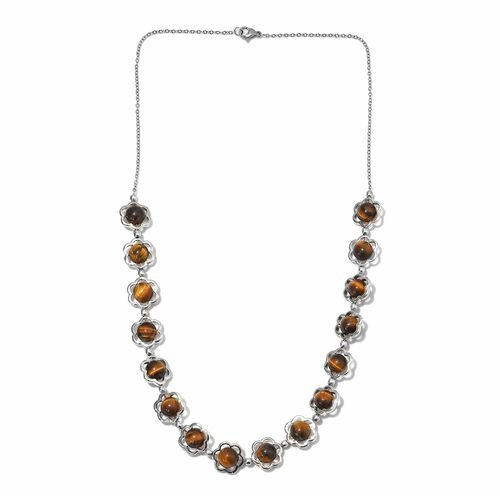 67 Carat Tigers Eye Floral Necklace in Platinum Plated 20 Inch