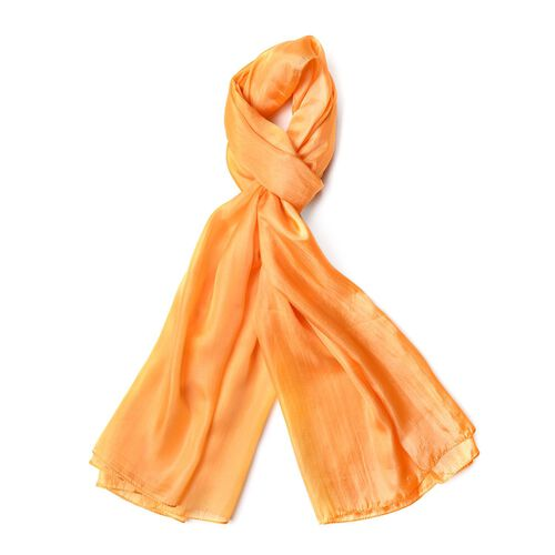 100% Mulberry Silk Orange Colour Scarf (Size 180X100 Cm)