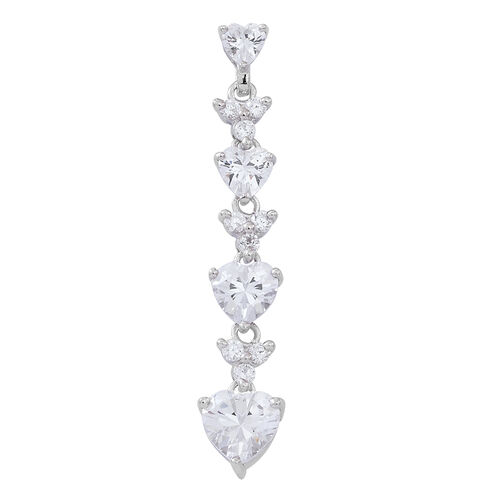 ELANZA AAA Simulated Diamond (Hrt) Pendant in Rhodium Plated Sterling Silver