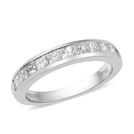 RHAPSODY 950 Platinum IGI Certified Diamond (Princess Cut) (VS/E-F) Half Eternity Band Ring 1.000 Ct