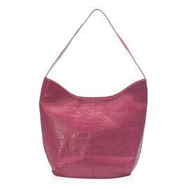New Season 100% Genuine Leather RFID Secure Fuchsia  Croc Embossed Hobo Bag (Size 35x27x15 Cm)