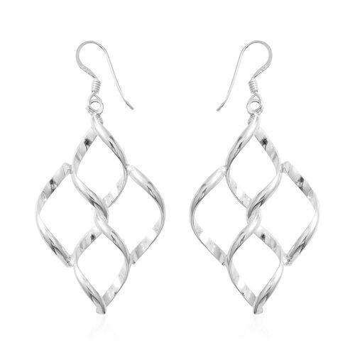 Sterling Silver Rhombus Hook Earrings, Silver wt 5.28 Gms.