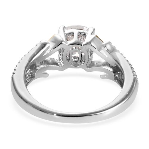 J Francis - Platinum and Yellow Gold Overlay Sterling Silver (Rnd) Ring Made with SWAROVSKI ZIRCONIA 1.28 Ct.