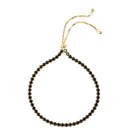 ELANZA Simulated Black Spinel Tennis Adjustable Bracelet in Gold Plated Silver 6.5 to 8 Inch