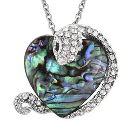Abalone Shell, White and Austrian Crystal Snake Wrapped Heart Design Brooch or Pendant With Chain (S